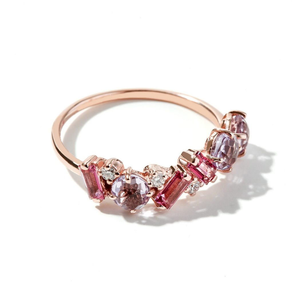 Multi-Stone Fashion Ring in 14k Rose Gold