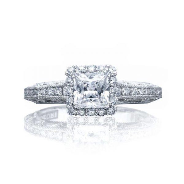 Reverse Crescent Diamond Solitaire Engagement Ring