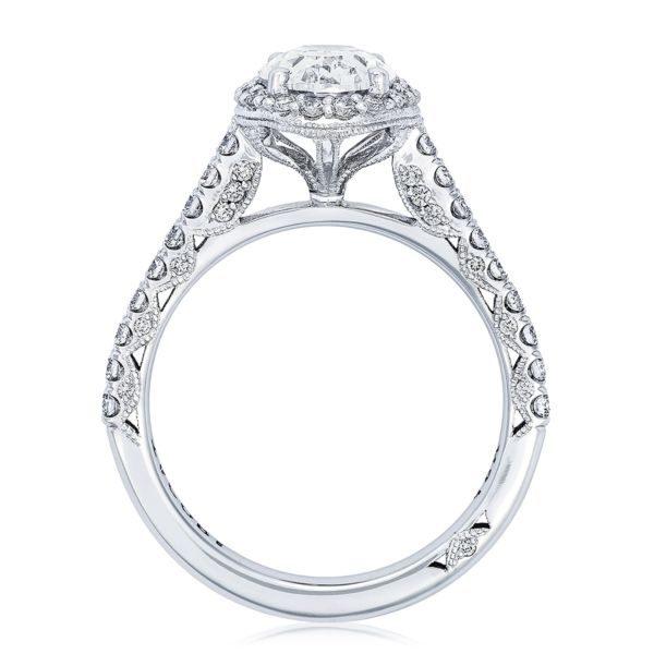 Petite Crescent Diamond Solitaire Engagement Ring