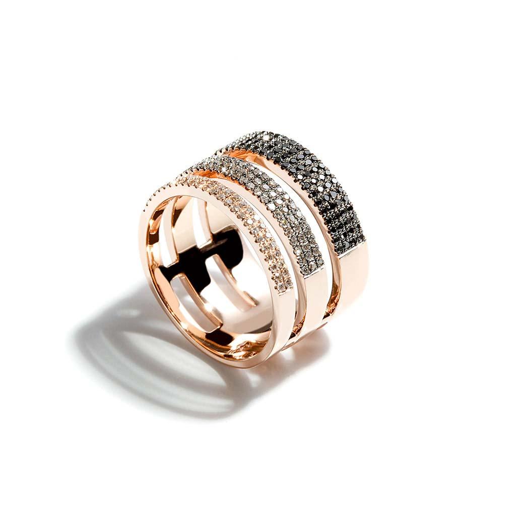 Triple Shank Black Diamond and Diamond Ring