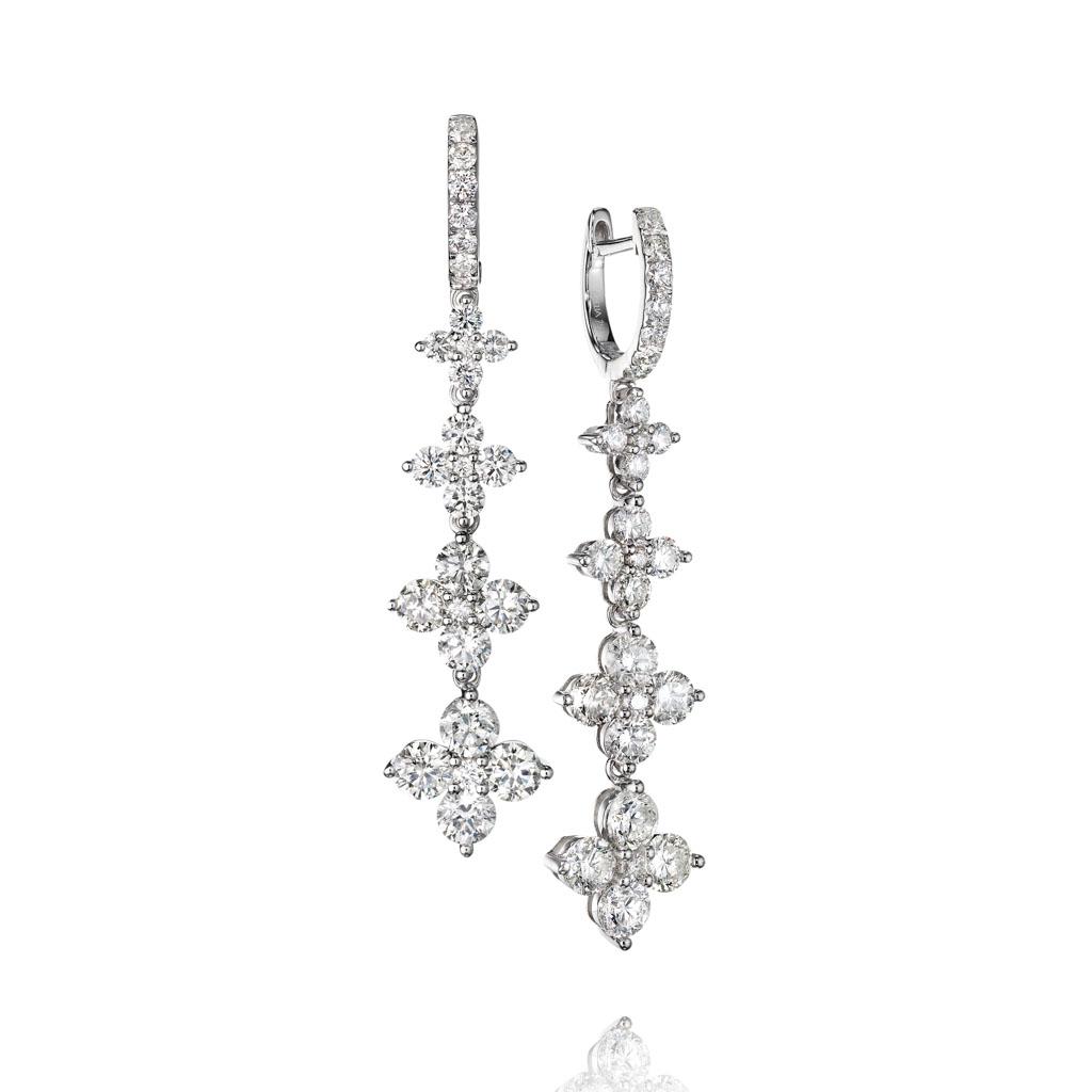 Four Station Diamond Dangle Earrings