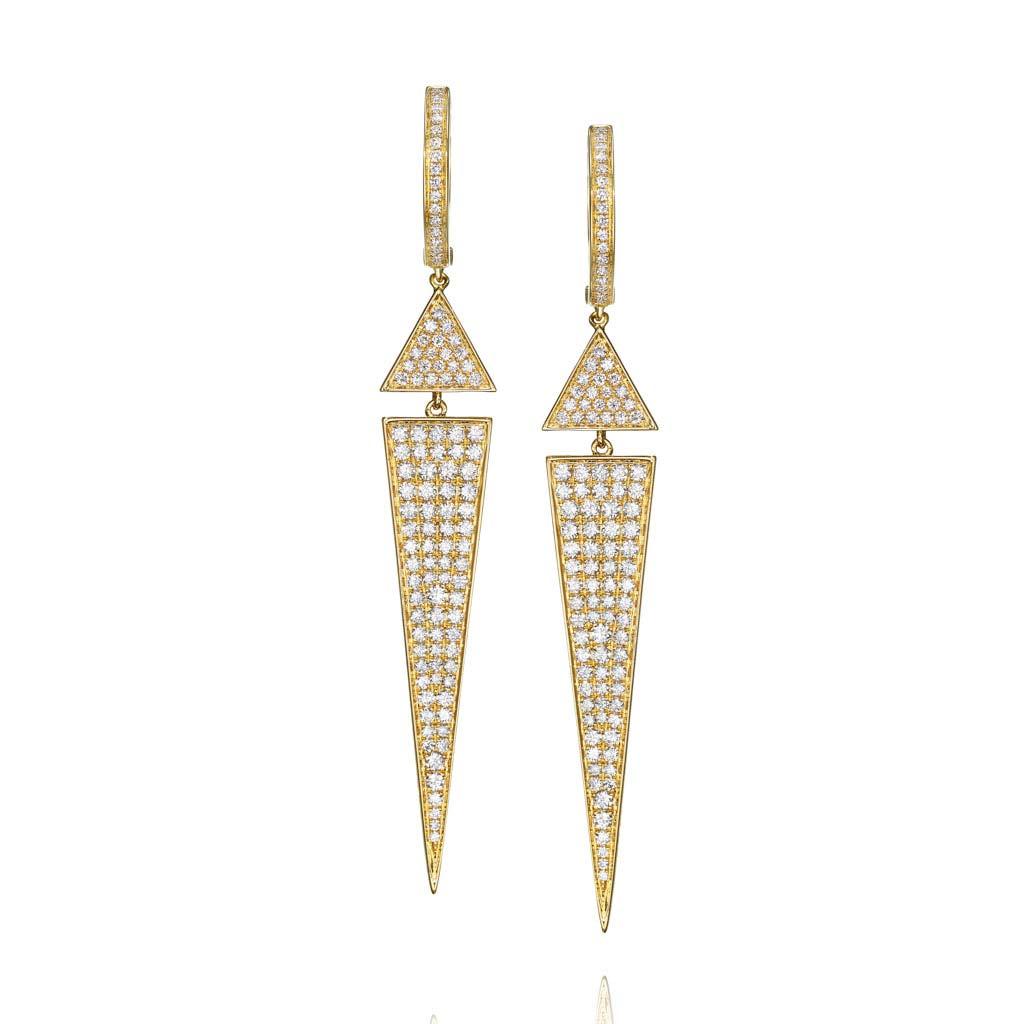 Tapered Triangle Diamond Drop Earrings