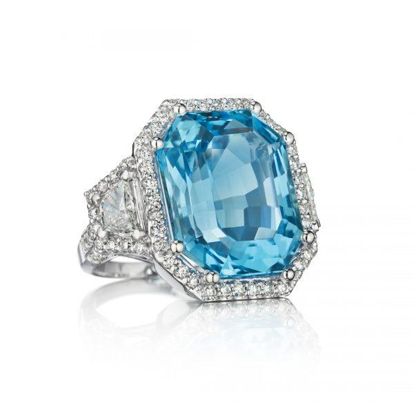 25 Carat Blue Topaz Three Stone Diamond Ring
