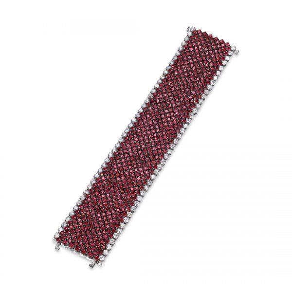Ruby and Diamond Wide Band Bracelet