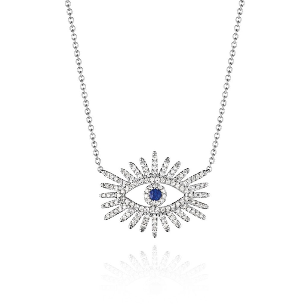 Radiant Eye with Sapphire Diamond Pendant
