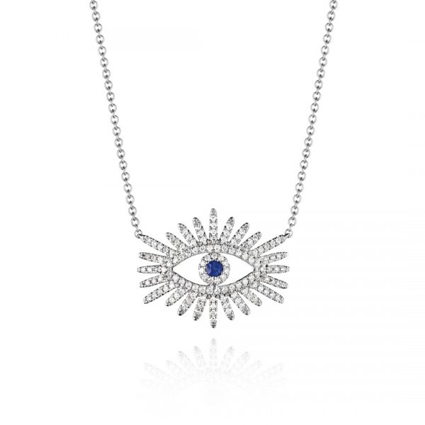 Evil Eye Diamond and Sapphire Pendant