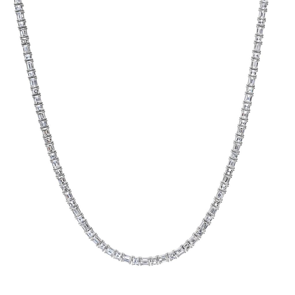 4 Prong Emerald Cut Diamond Eternity Necklace