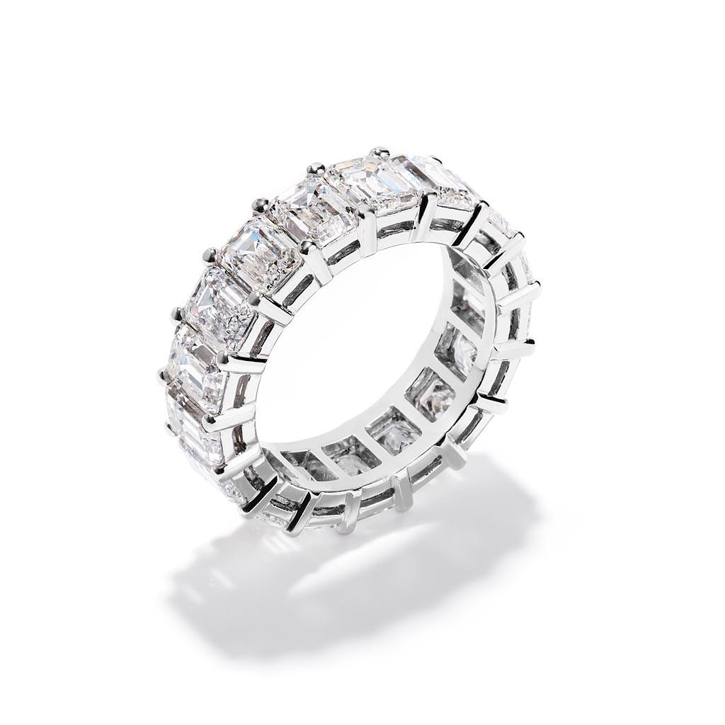 Emerald Cut Diamond Eternity Wedding Band