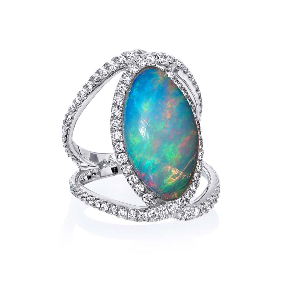 Opal Diamond Split Shank Ring