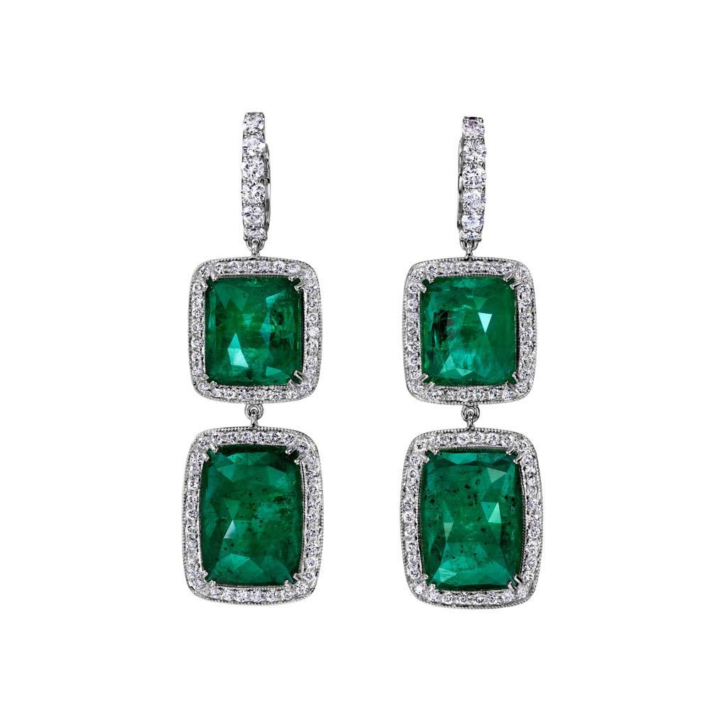 Diamond Halo Emerald Dangle Earrings