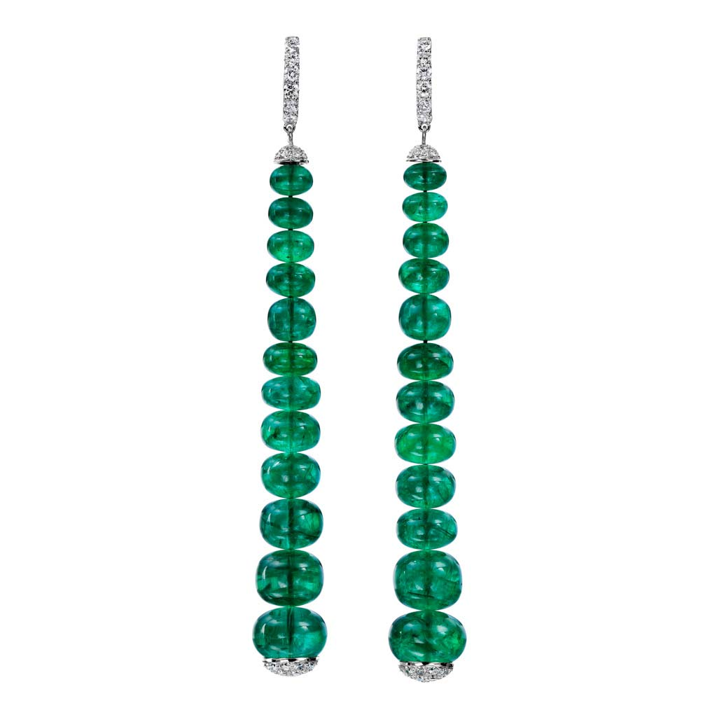 Emerald Beads and Diamond Long Dangle Earrings
