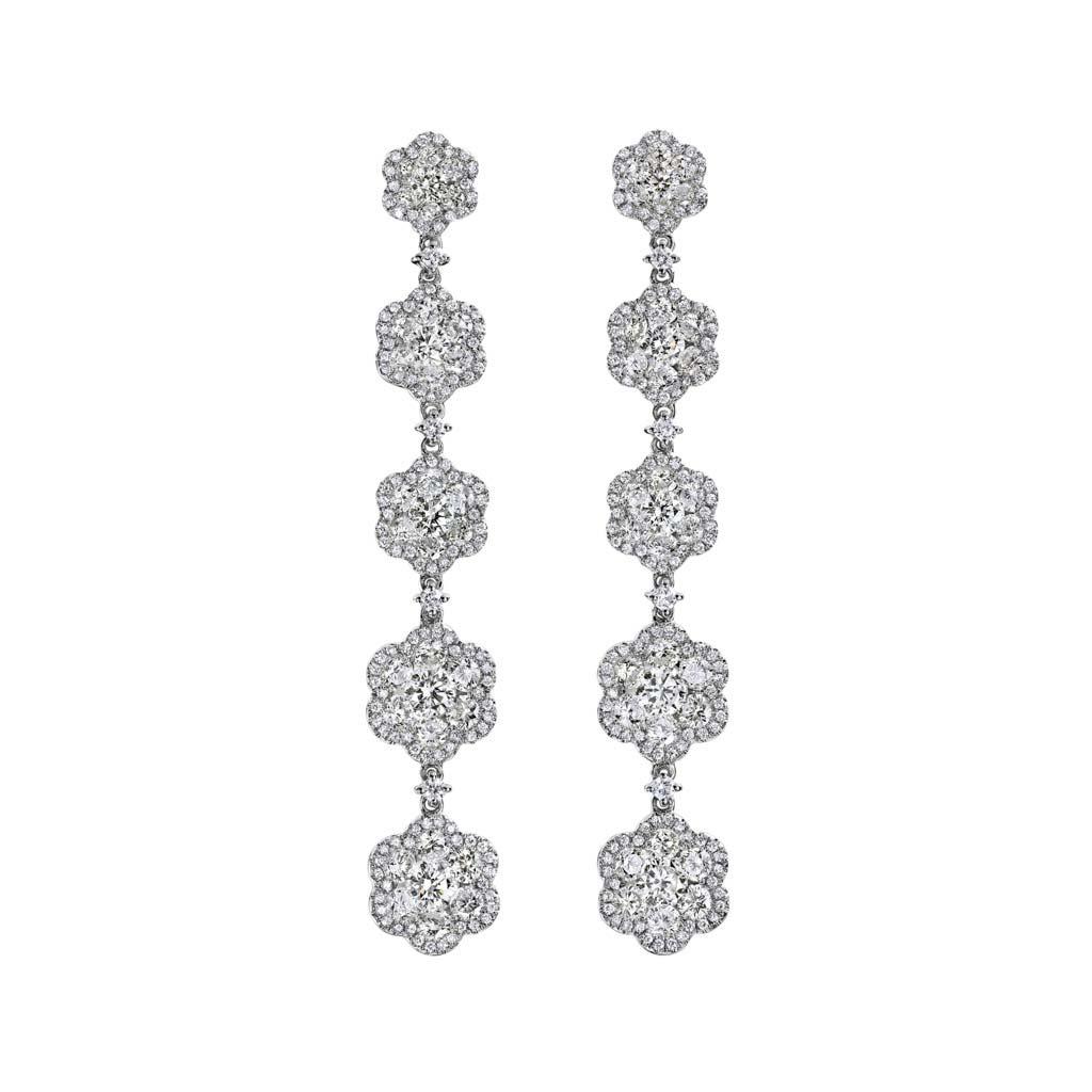 Diamond Flower Dangle Earrings