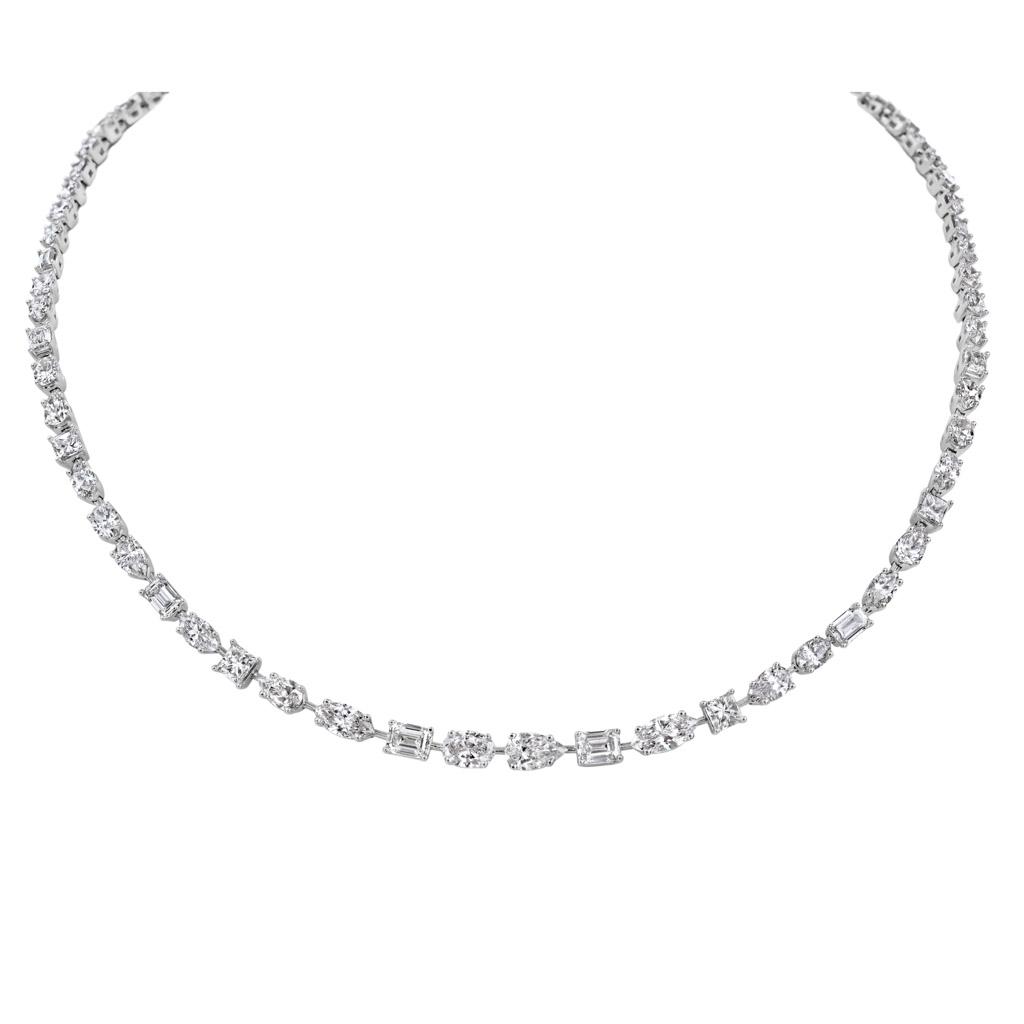 Mixed Cut Diamond Riviera Necklace