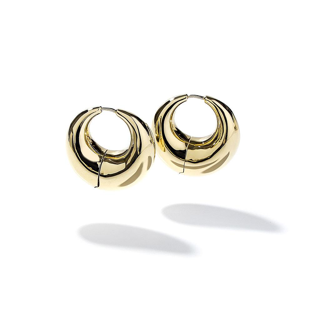 Gold Thick Hoop Drop Earrings