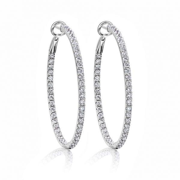 In and Out Diamond Hoop Earrings