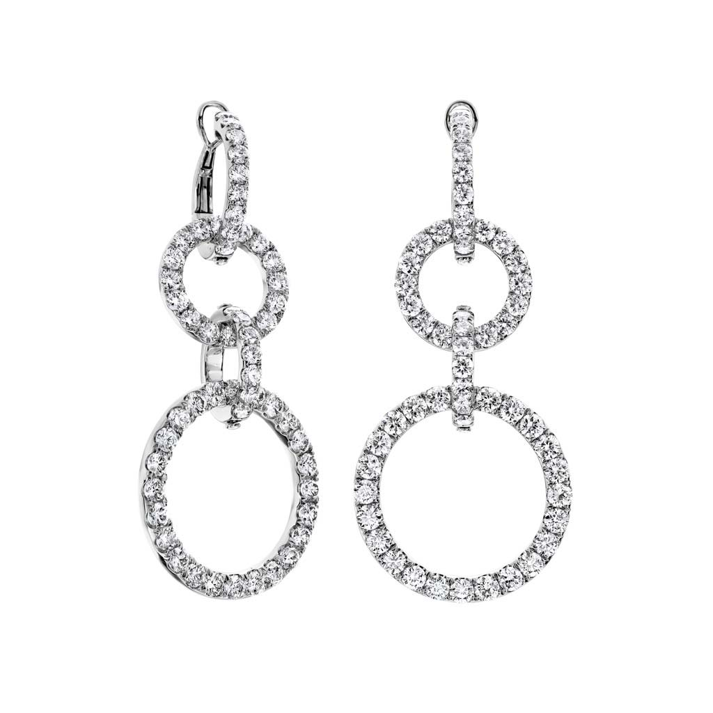 Open Circle Drop Diamond Earrings