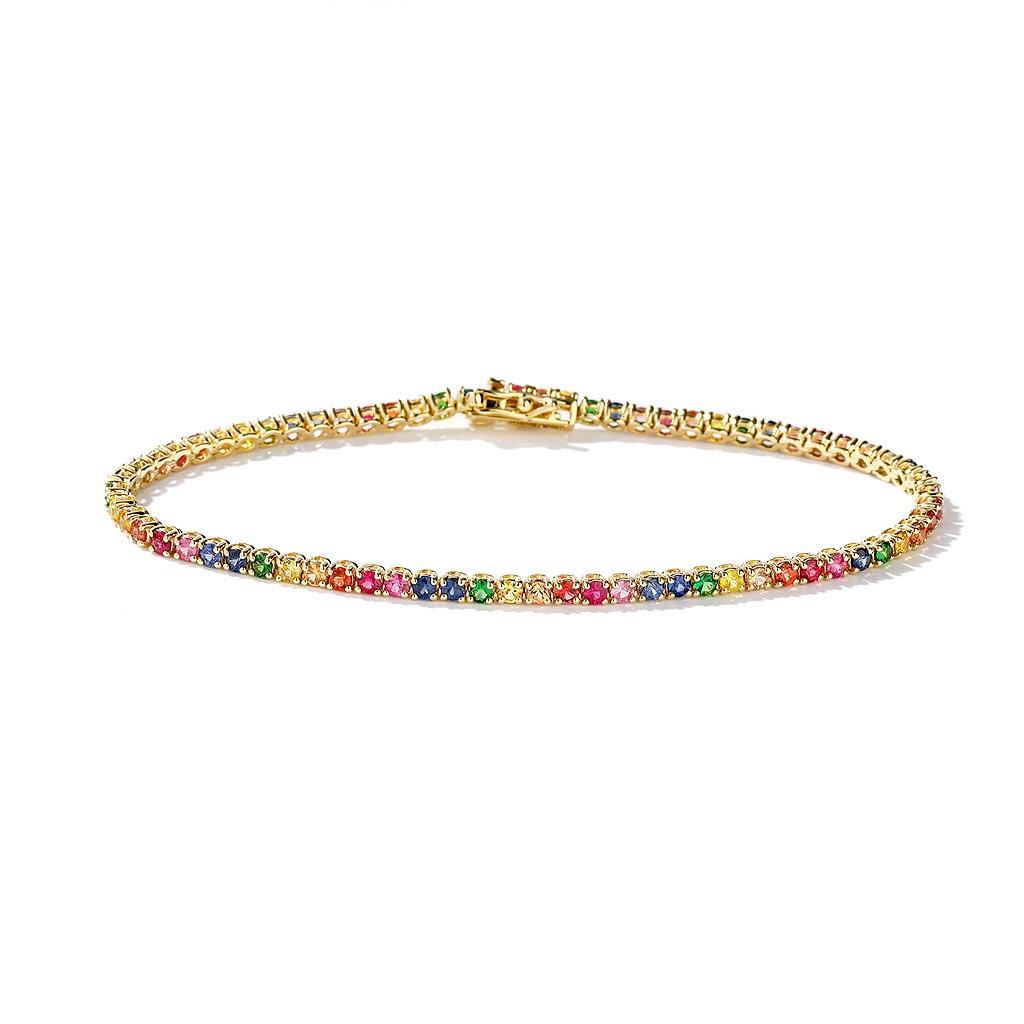 Dainty Rainbow Sapphire Tennis Bracelet