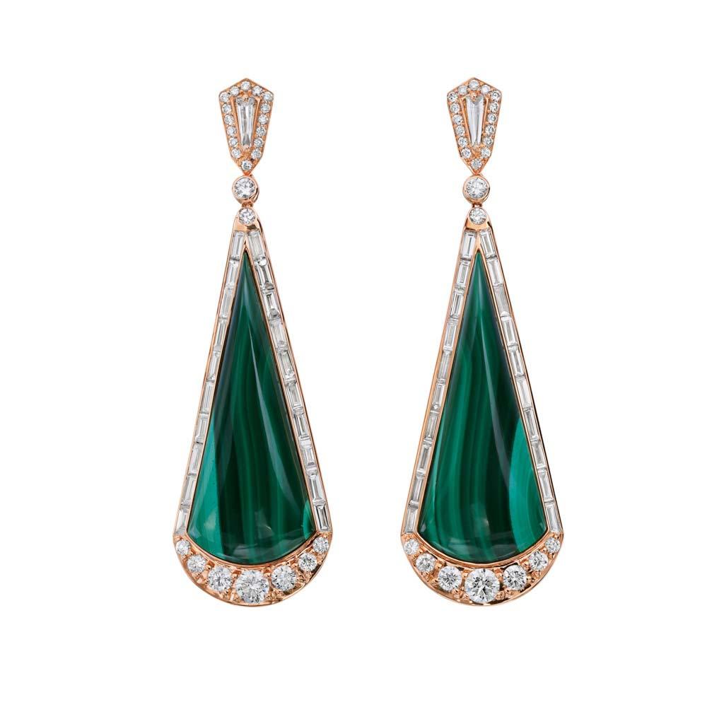 Malachite with Diamond Halo Earrings
