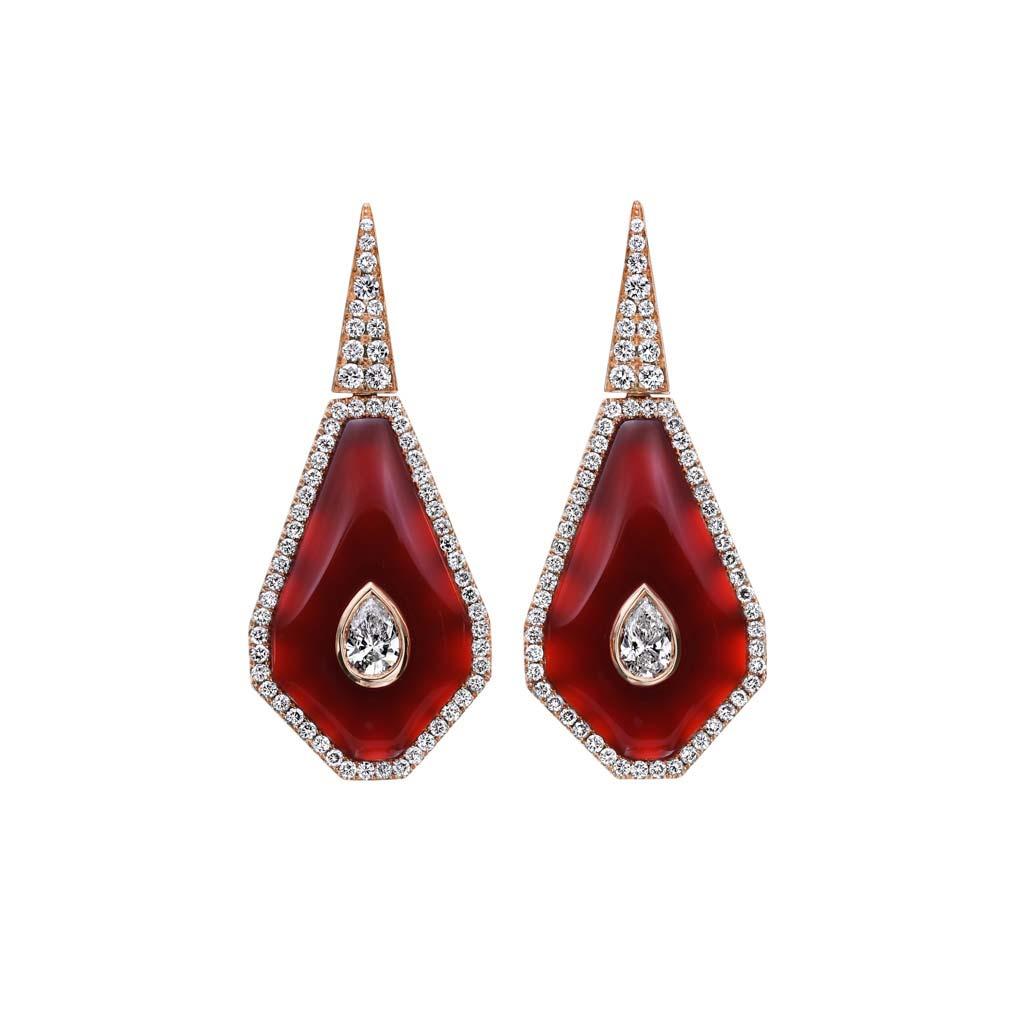 Carnelian with Diamond Halo Earrings