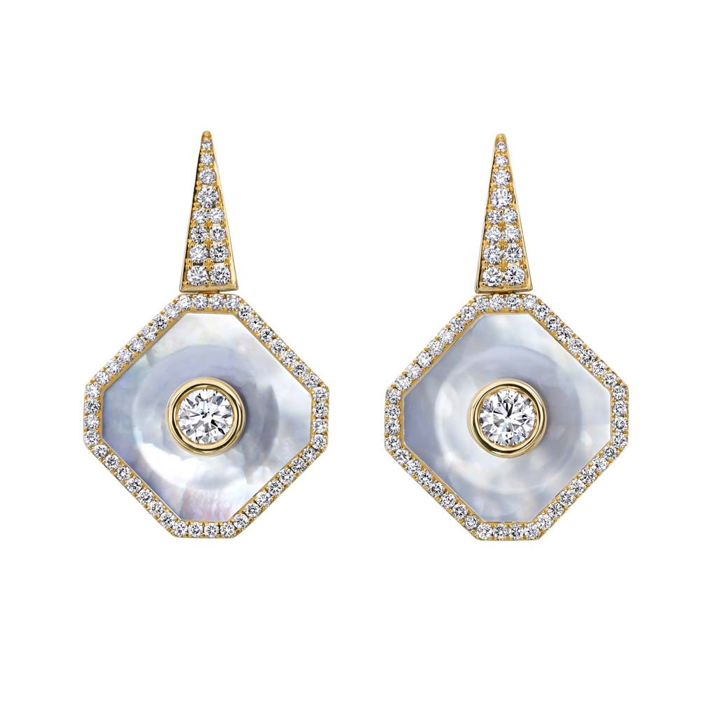 Mother of Pearl and Diamond Earrings