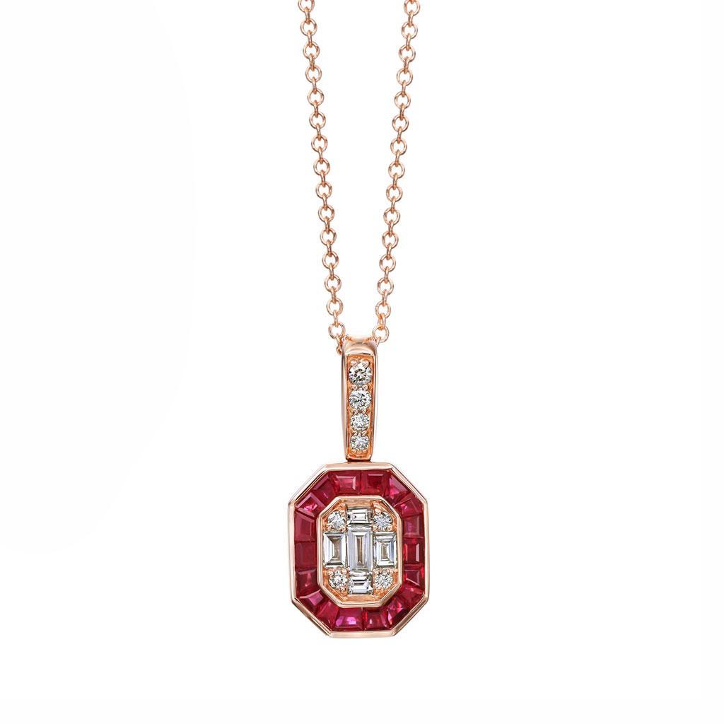 Ruby Halo Cluster Pave Diamond Pendant