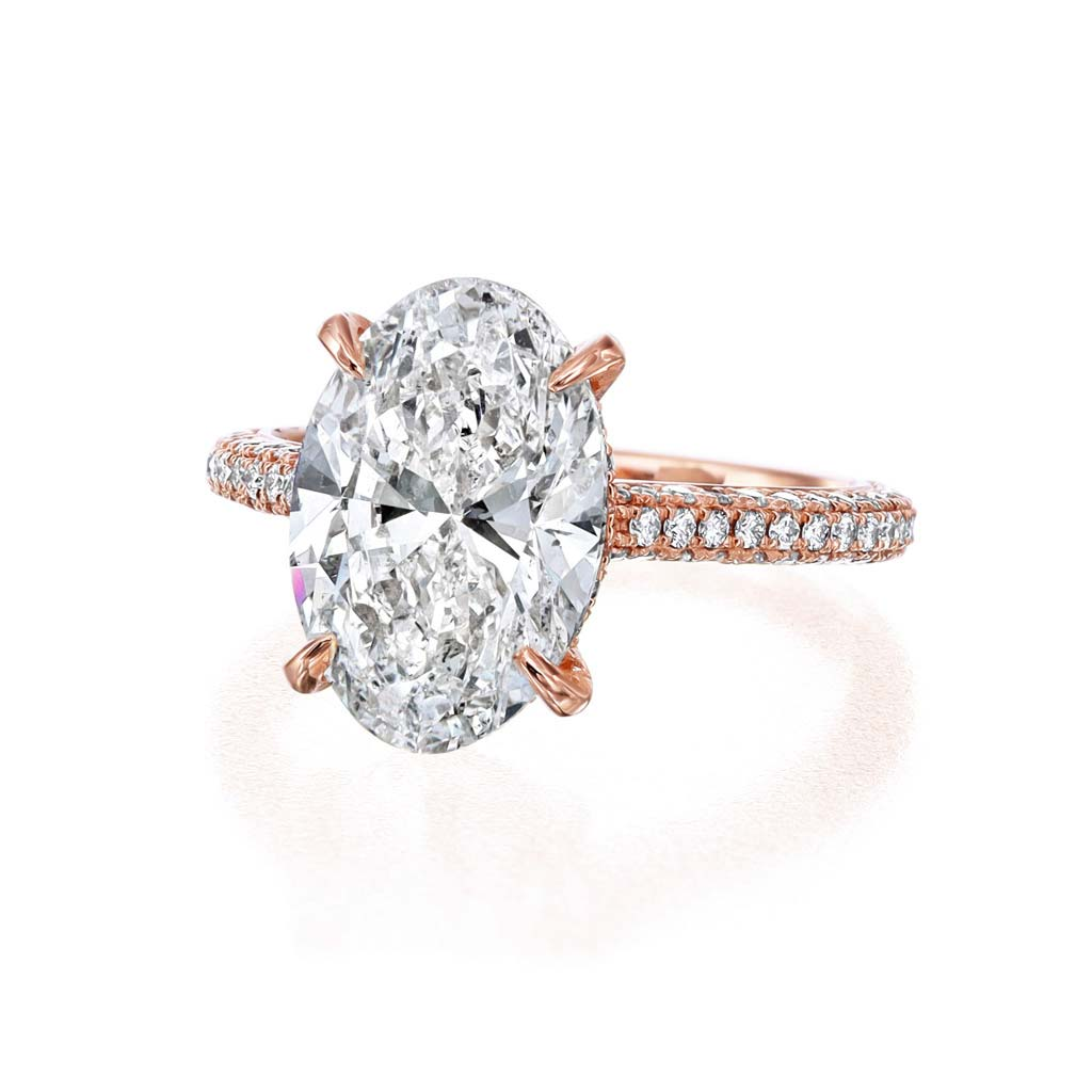 Three Sided Pave Oval Engagement Ring