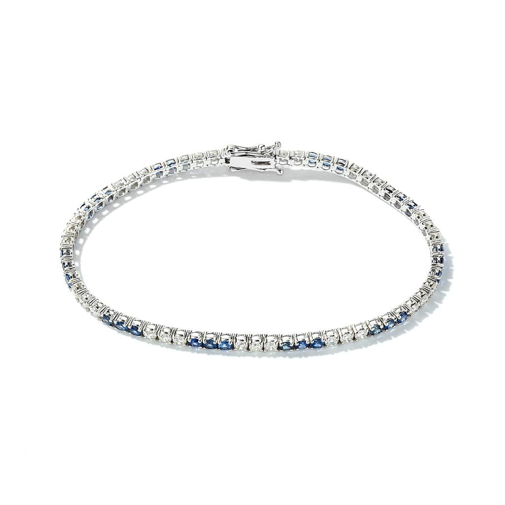 Alternating Diamond and Sapphire Diamond and Sapphire Bracelet