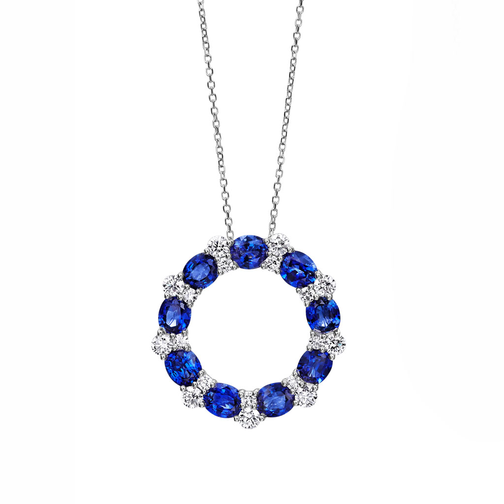 Open Circle Sapphire Diamond Pendant