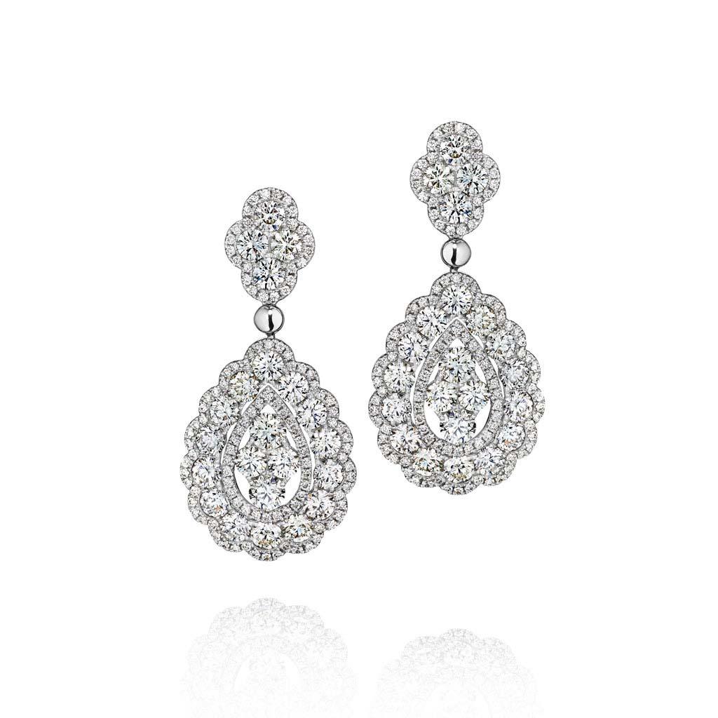 Fancy Double Halo Diamond Earrings