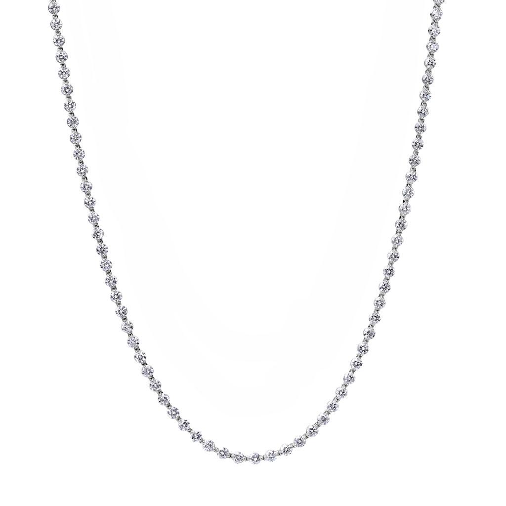 2 Prong Barrel Set Diamond Eternity Necklace