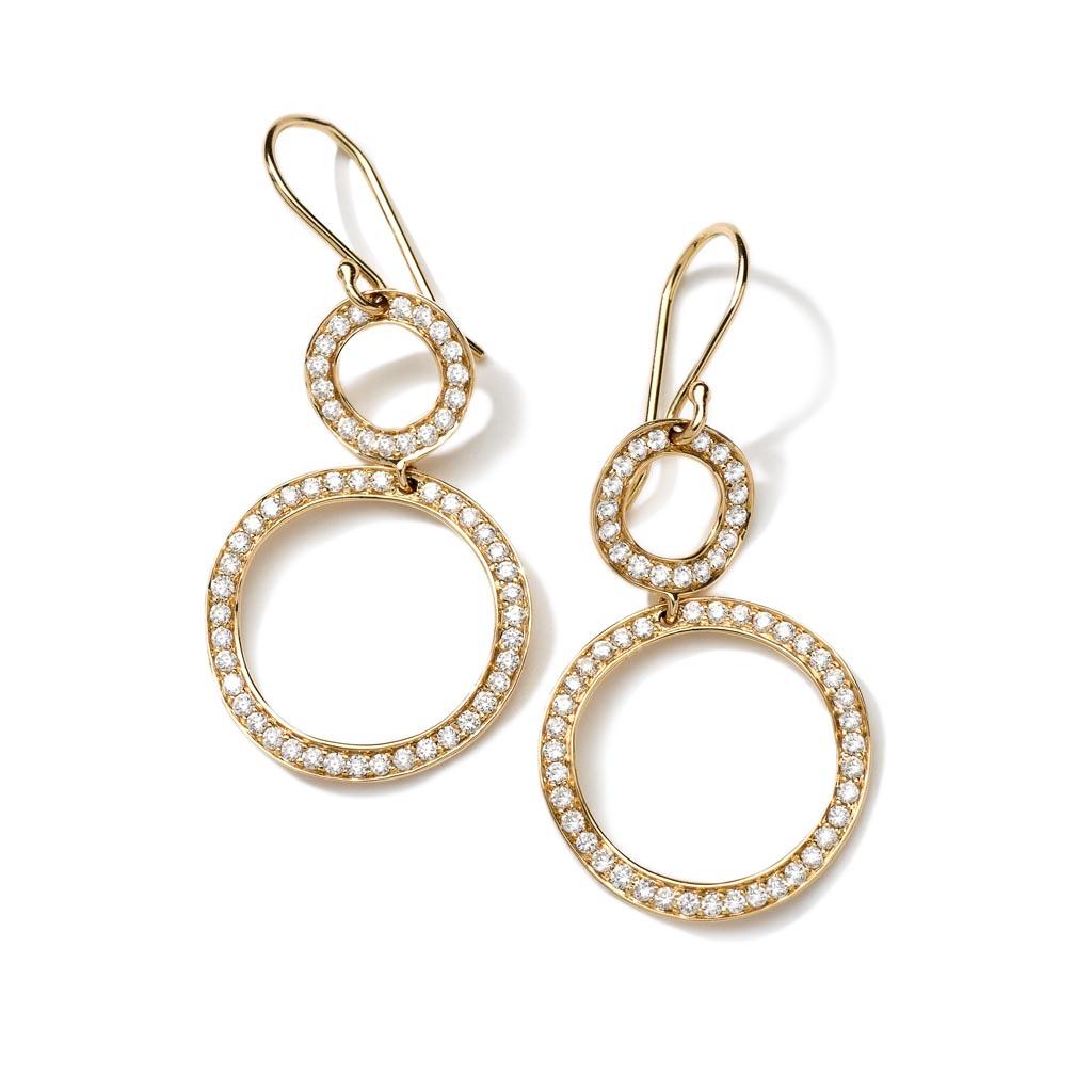 Mini Snowman Earrings In 18k Gold With Diamonds