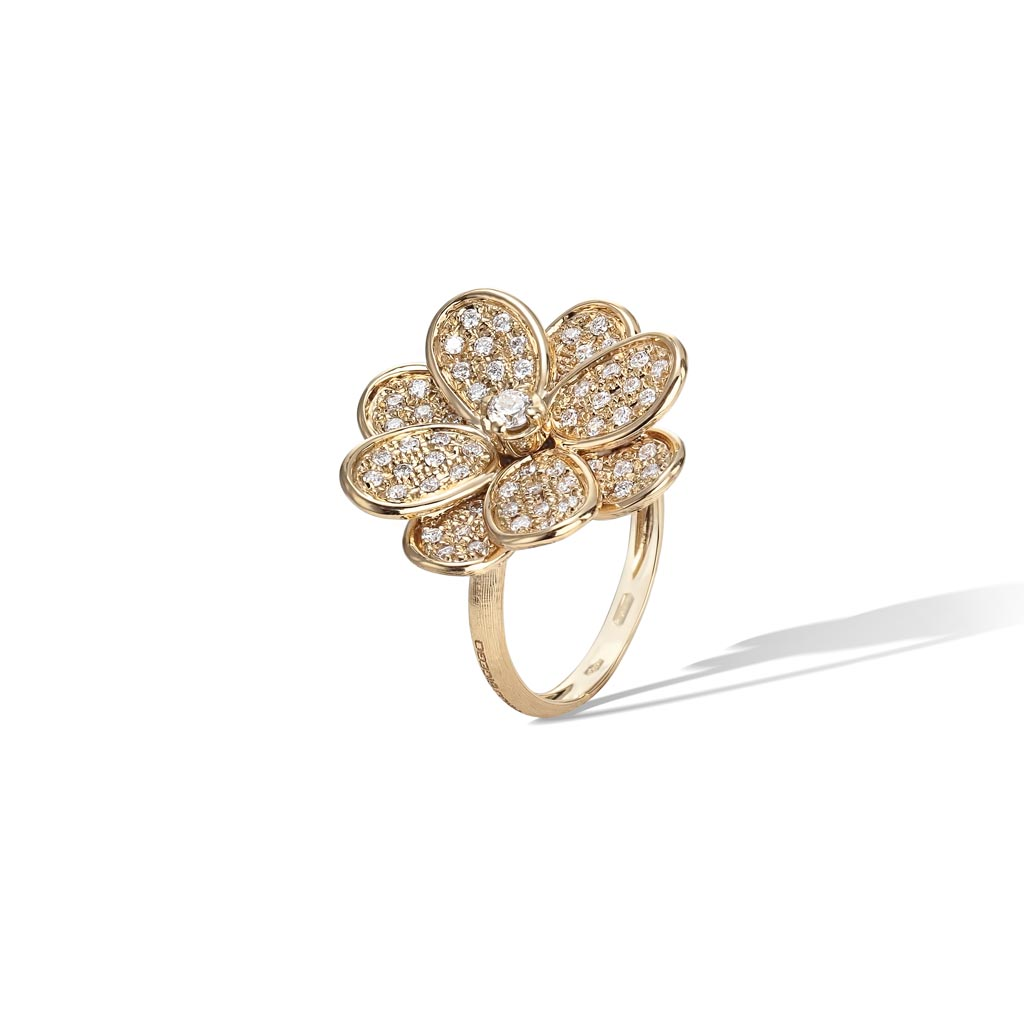Petali Collection 18k Yellow Gold And Full Pave Medium Flower Ring