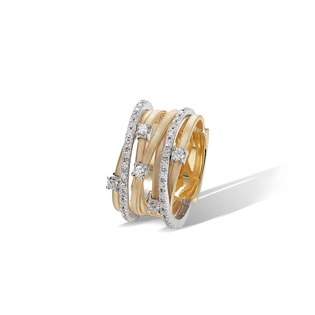 Goa Collection 18k Yellow Gold Seven Strand Diamond and Pave Ring