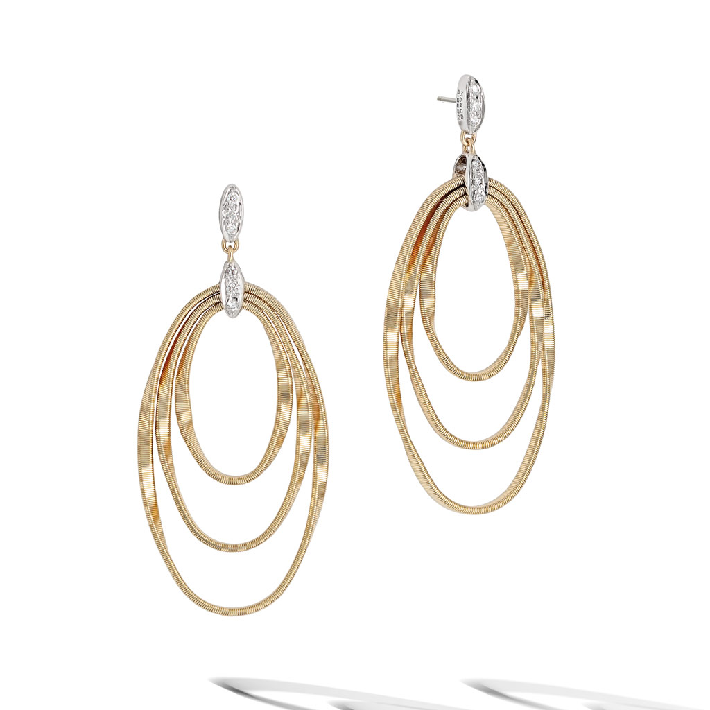 Marrakech Onde Collection 18k Yellow Gold And Diamond Concentric Earring