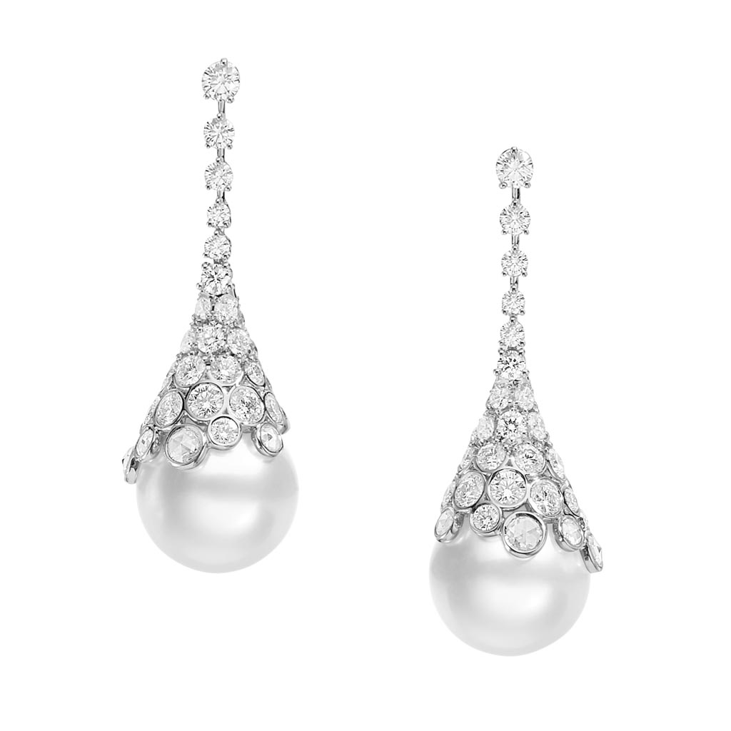 Japan Collection Diamond and Pearl Drop Earrings