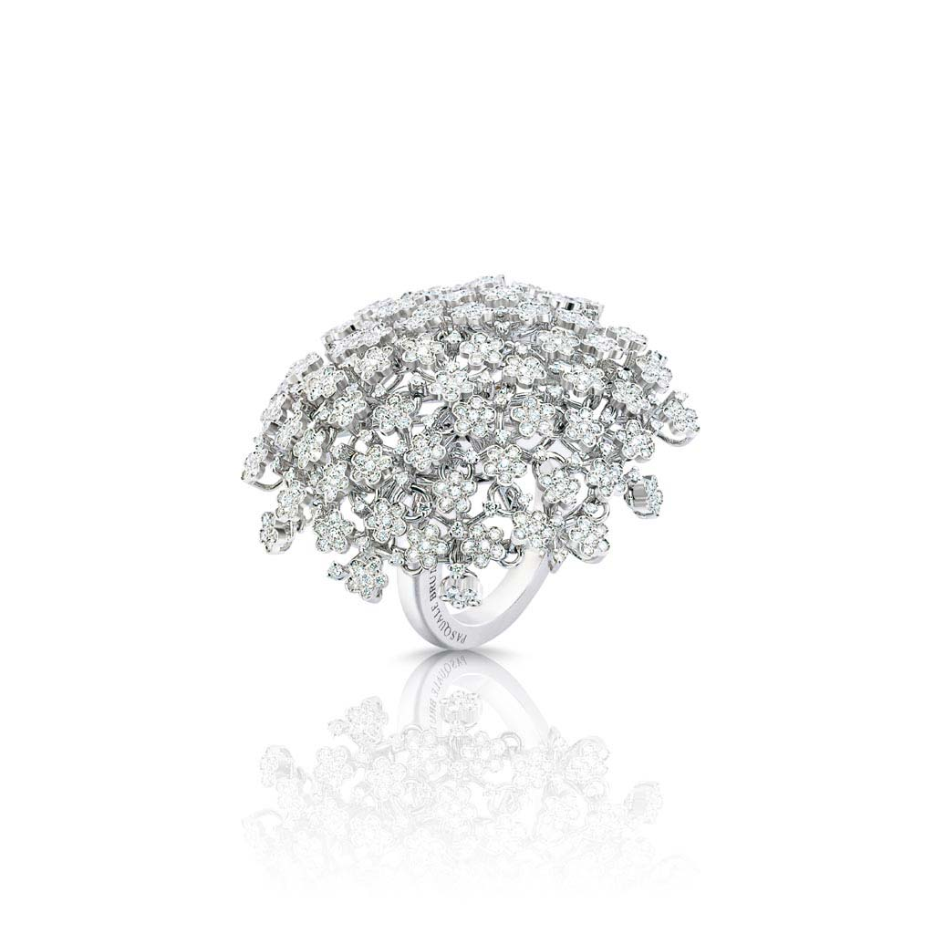 White Gold Prato Fiorito Ring With Diamonds