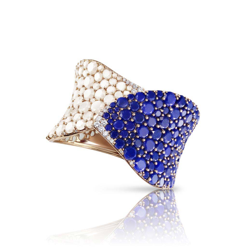 Rose Gold Lakshmi Bracelet With Lapis Lazuli, Moonstone And Diamonds