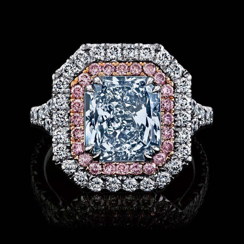 Radiant Fancy Light Blue Diamond Ring