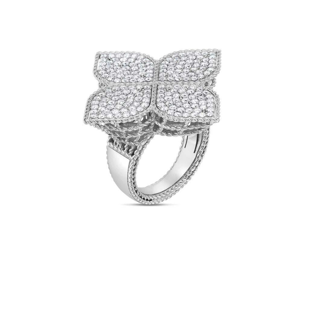 Gold and Diamond Xl Princess Flower Ring