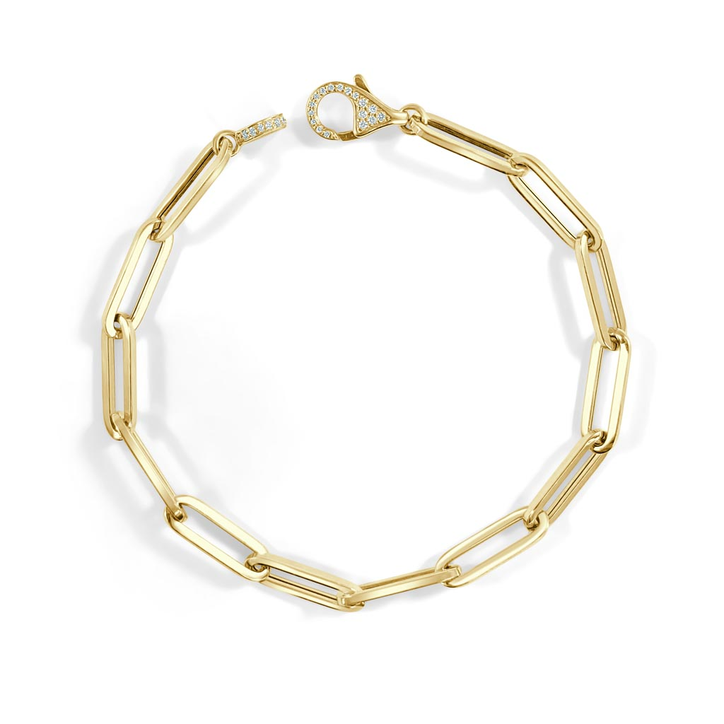 Gold and Diamond Paperclip Link Bracelet