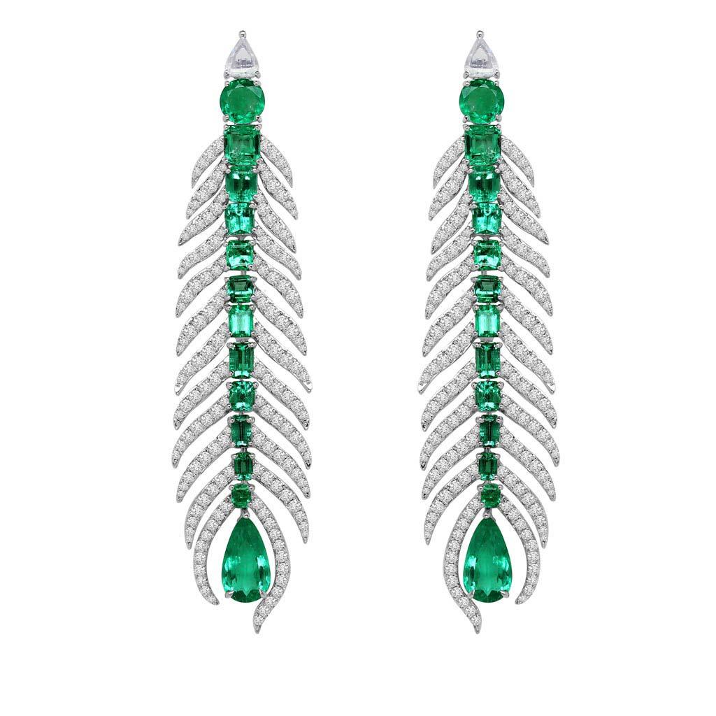 Emerald And Diamond Feather Dangle Earrings