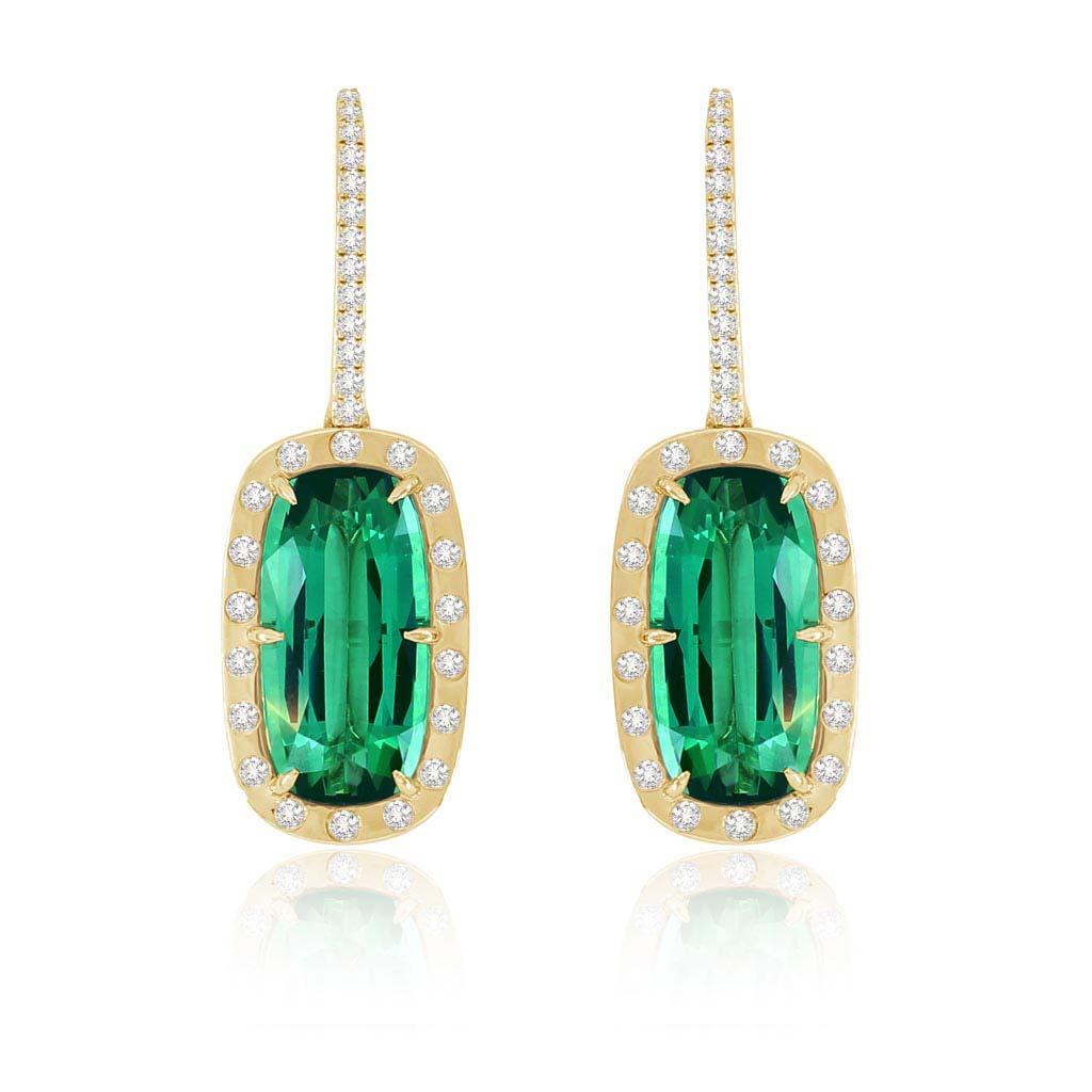 Green Tourmaline And White Diamond Dangle Earrings