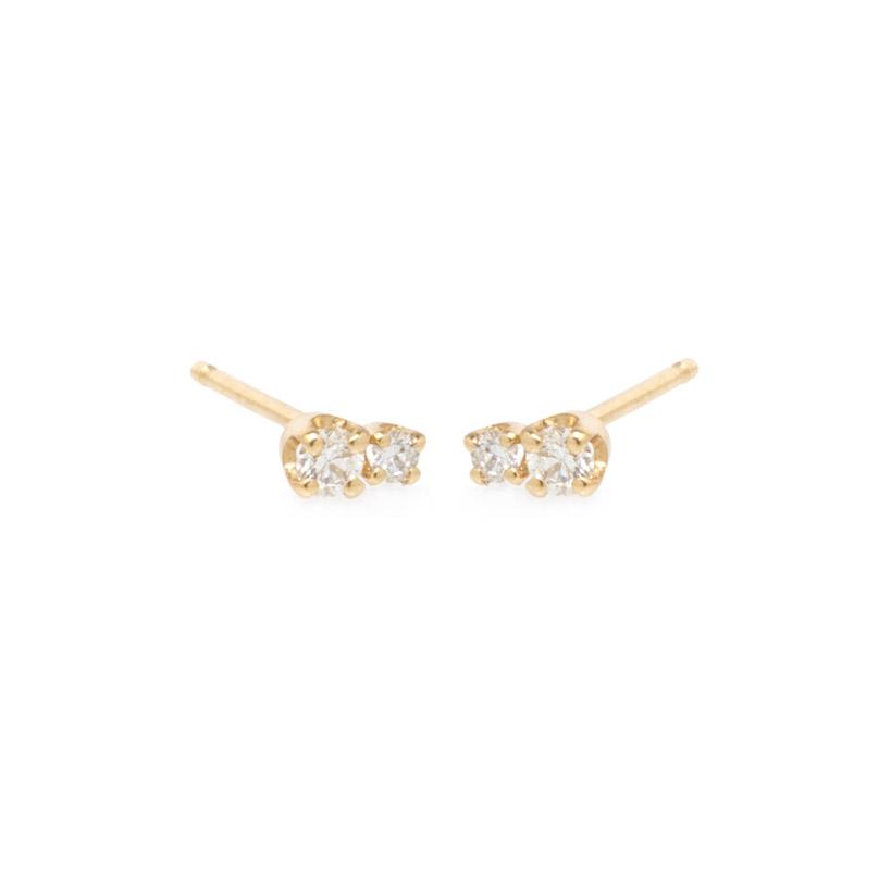 Double Diamond Stud Diamond Earrings