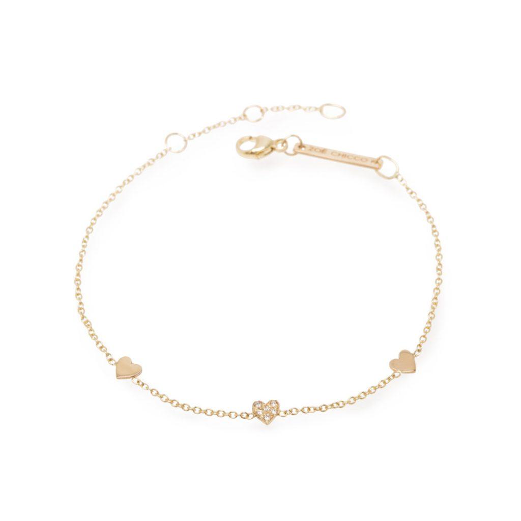 3 Station Heart Diamond Bracelet