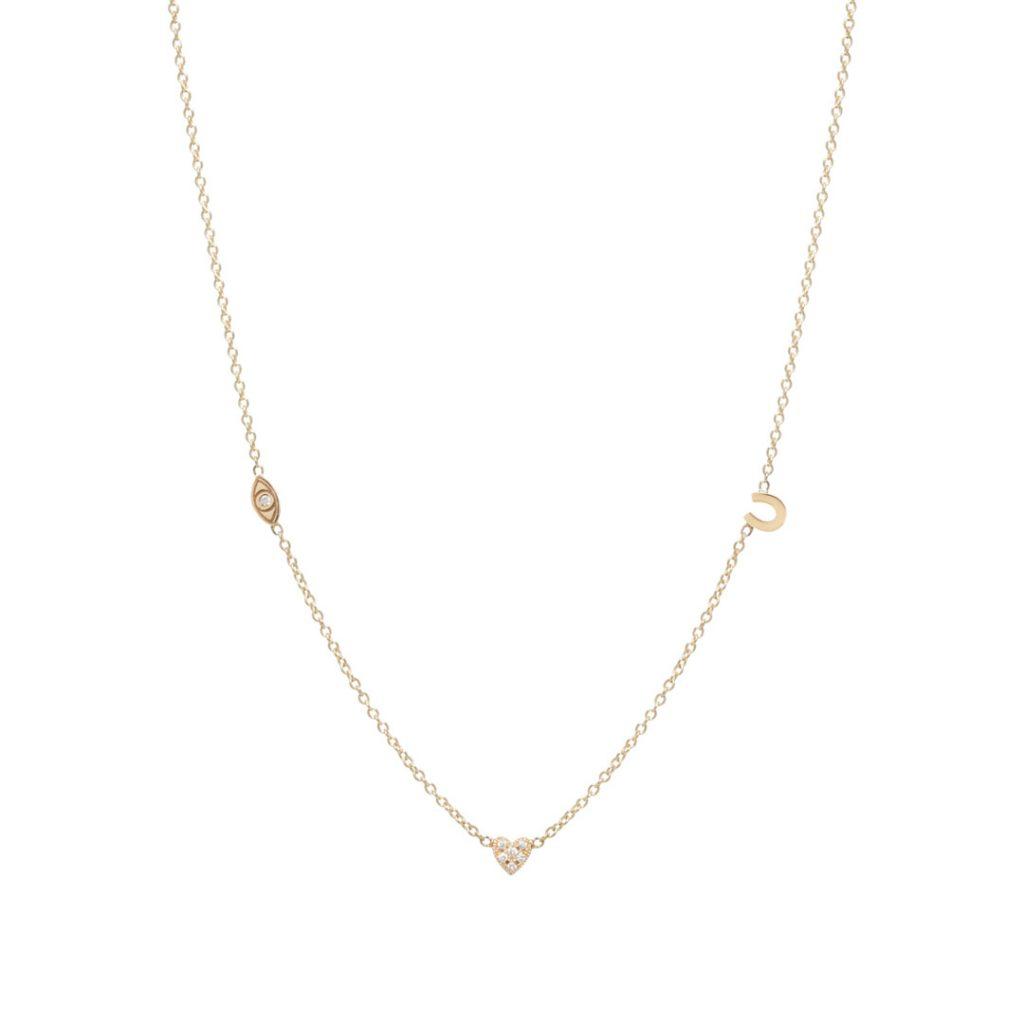 Eye Horseshoe Heart Diamond Necklace