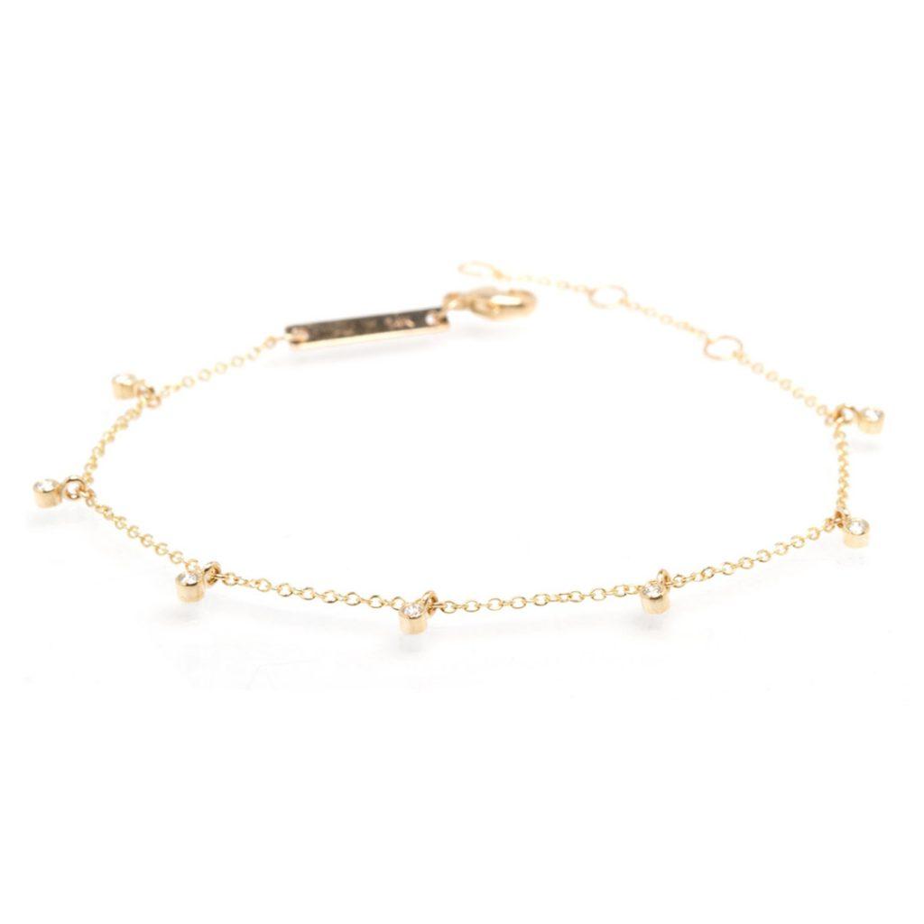 7 Station Bezel Dangle Diamond Bracelet