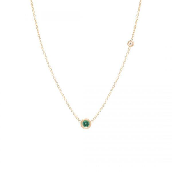 14K Emerald And Floating Diamond Choker Necklace
