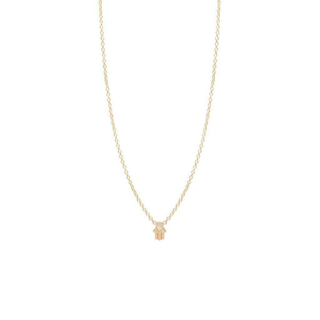 14K Diamond Itty Bitty Hamsa Necklace