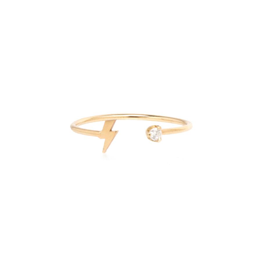 14K Gold Prong Diamond And Itty Bitty Lightning Bolt Open Ring Fashion Ring