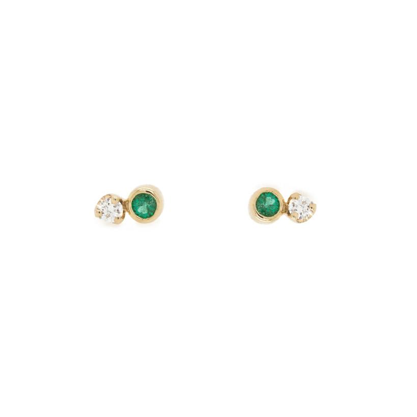 Small Studs Diamond and Emerald Earrings